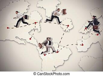 Rush around the world - Businessman overworked rush to ...
