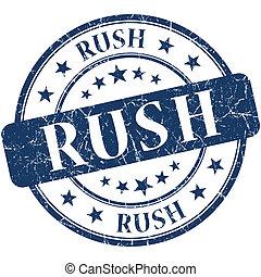 Rush grunge blue round stamp