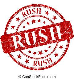 Rush grunge red round stamp
