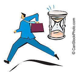 rush hour - Businessman running with an hourglass