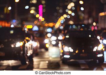 Rush hour car traffic on the night