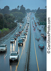 Rush hour traffic in the rain