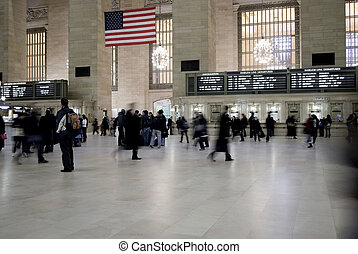 Rush Hour - A motion blur of commuters at Grand Central...