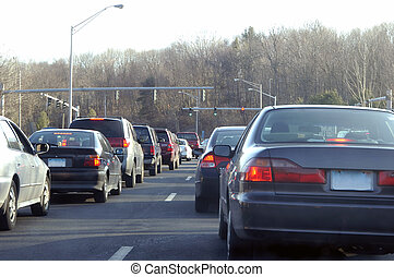 Rush Hour - Lot of cars waiting at the red light