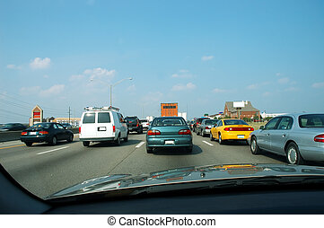 Rush Hour Traffic - 4 lanes of traffic on northbound I-75 in...