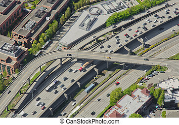 Rush Hour Traffic - Aerial - Aerial perspective of heavy...