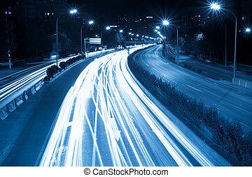 rush hour traffic at night