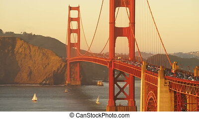 Rush Hour Traffic Flows Golden Gate Bridge Sunset Transit -...