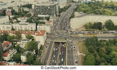 Aerial shot of rush hour traffic in Warsaw