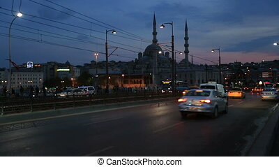 rush hour traffic on the galata bridge at Istanbul Turkey
