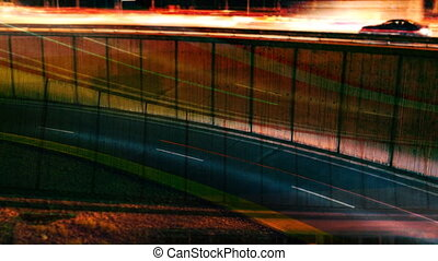 rush of night time traffic on motorway in timelapse scene, barcelona, spain