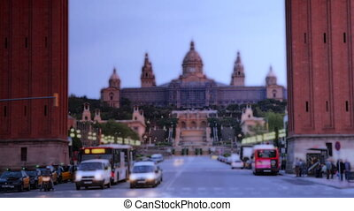 rush of traffic early evening, at plaza de espana, barcelona...