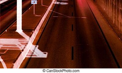 rush of traffic on motorway in timelapse scene, barcelona, spain