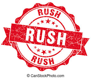 rush red grunge seal isolated on white