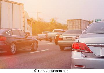 rush, ror, timme, bilar, marmelad, trafik, under, väg