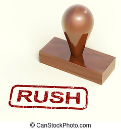 Rush Rubber Stamp Shows Speedy Urgent Express Delivery
