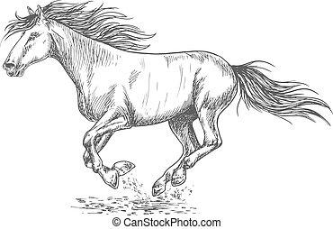 Rush running horse sketch portrait - Running horse pencil...
