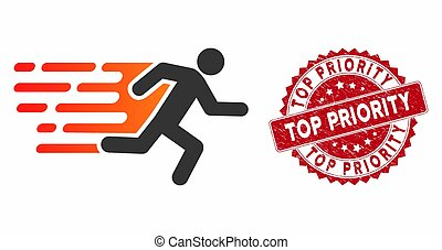 Rush Running Man Icon with Textured Top Priority Stamp