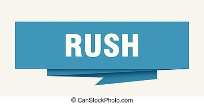 rush sign. rush paper origami speech bubble. rush tag. rush...
