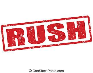 Rush stamp - Rush grunge rubber stamp on white, vector...