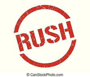 rush stamp - rush red round stamp