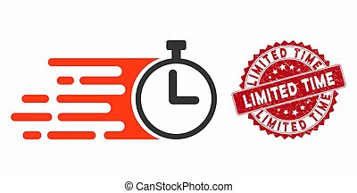 Rush Stopwatch Icon with Distress Limited Time Seal