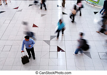 Rushing people - A man thinking and looking for a way to ...