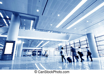 Rushing people - Clean tiled floor, reflection of light on...