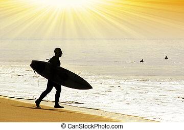 rushing surfer