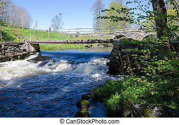 Rushing water under the bridge