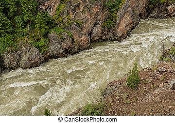 Rushing Yellowstone River in Gully Cuts Through Rock