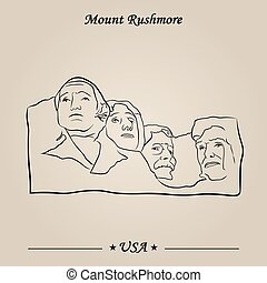 rushmore, attractions, monter, vecteur, mondiale, monument.