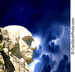rushmore, commémoratif, usa, monter, -, orage, national