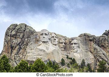 rushmore, hora, monument., národnostní, předseda