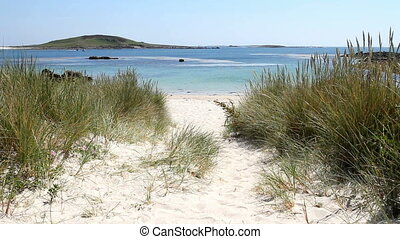 Rushy Bay Isles of Scilly. - Path to Rushy Bay beach in...