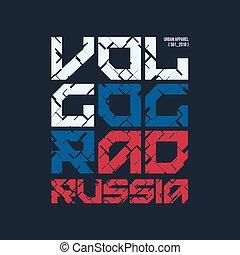 rusia, camiseta, volgograd, vector, typog, diseñar, ropa,...