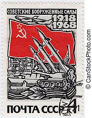 rusia, -, hacia, 1968, :, estampilla, impreso, en, rusia, exposiciones, militares soviéticos, ejército, hacia, 1968