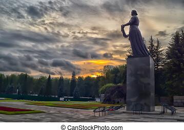 rusia, -, saint-petersburg, cementerio, piskaryovskoye, ...