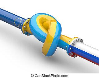rusia, -, ucrania, -, europa, gas, crisis, concept., tubería, atado, en, un, knot.