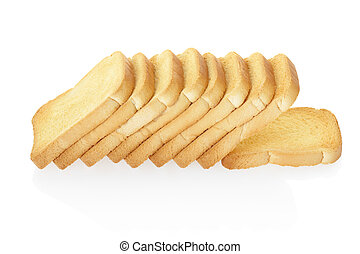 Rusk bread isolated on white, clipping path included