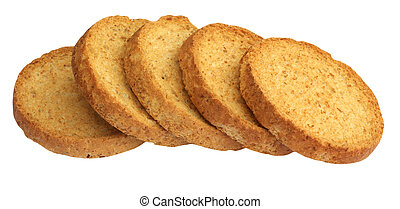 Slices rusk, isolated on background