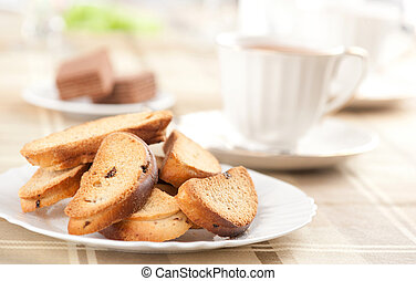Rusk with raisin on a plate