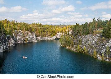 Ruskeala, Karelia, Russia. Rocky Park Ruskeala. Flooded...