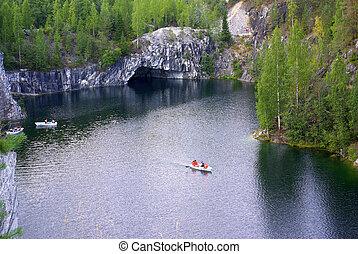 Ruskeala marble quarry in the Republic of Karelia, Russia