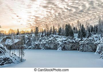 Ruskeala marble quarry, Karelia, Russia - Marble kanyon in...
