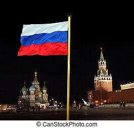 ruski, narodowa bandera, tło, kreml