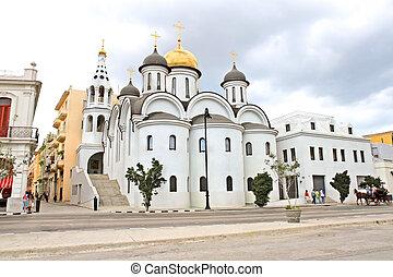 ruski, stary kościół, havana, prawowierny, kuba