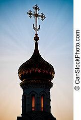 ruski, sylwetka, kopuła, kościół
