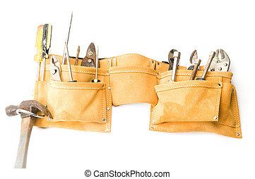 ruskind, læder, værktøj bælte