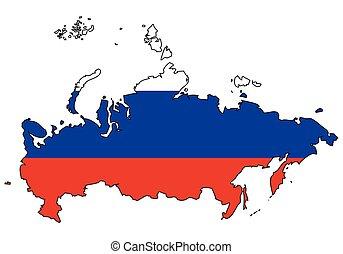 rusko, -, celostátní mapovat, nárys, state flag